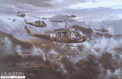 DHM2268B.  Ride of the Valkyries by Simon Atack . <p> No aircraft came to symbolize the war in Vietnam more than the Bell UH-1 Iroquois, better known to the men who flew, and fought from this aircraft - and to those who were to owe it their survival, by just one never to be forgotten name - the Huey.  Ideally suited to the terrain of South Vietnam - formidable mountain peaks, dense jungle, almost every other acre of land under water, and the fact that large tracts of the countryside were controlled by the Vietcong and impassable, the Huey became one of the US Armys most effective weapons of the war.  With the ability to carry eight fully equipped troops, the Huey was also ideal for use as Medevac flying ambulances, which were to create their own legend.  By the end of the conflict the Hueys had notched up a staggering 34 million combat sorties flown!  In July 1965 the 1st Air Cavalry, equipped with 500 Hueys arrived in South Vietnam to begin what became the longest tour of duty in American combat history.  Under the command of the flamboyant Colonel John Stockton, the 1st Air Cavalry went on the immediate offensive, swiftly creating a devastating impact on the enemy, bringing them to battle wherever they could be found. <p><b>Last 3 available of this sold out edition. </b><b><p>Signed by  <a href=signatures.php?Signature=416>Captain Richard Buzen</a> and <a href=signatures.php?Signature=417>Chief Warrant Officer Michael J. Novosel Moh (deceased)</a>. <p> Medal of Honor Edition of 400 prints. <p> Image size 16 inches x 24.75 inches (41cm x 64cm)