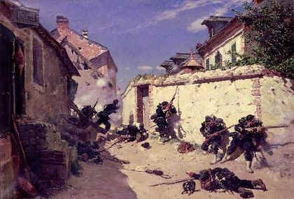 DHM227.  Surprise attack in the Suburbs of Metz by Alphonse de Neuville. <p>French skirmishers engaging Prussians during an attack in Metz during August 1870.<b><p> Open edition print.  <p>Image size 23 inches x 15 inches (58cm x 38cm)