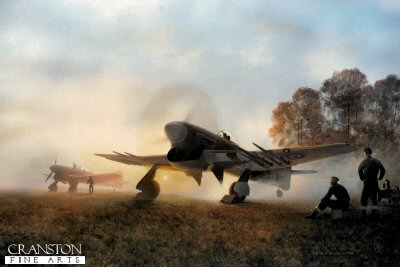 DHM2276.  Normandy Sunrise by Gerald Coulson. <p>Here, in the brightening morning sky, Typhoons are prepared for the first sortie of the day. One has already fired up its big, powerful engine, blowing up whirlwinds of Normandy dust, ground crew hover, ready to remove chocks prior to taxi and take-off. A second is readied, while the remainder of the squadron, widely dispersed around the temporary field, are about to set about their deadly missions of the day.<b><p>Signed by Flight Lieutenant James Kyle DFM, <br>Warrant Officer Douglas Oram <br>and <br>Flying Officer Frank Wheeler DFC (deceased). <p>Limited edition of 300 prints, with three signatures.  <p>Image size 27 inches x 21 inches (69cm x 53cm)