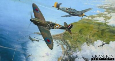 DHM2278.  The Battle for Britain by Robert Taylor. <p>A Battle of Britain Spitfire from 610 Squadron takes on a Me109 from I./JG3 in a head-on attack high over the south coast port of Dover, in the late morning of 10 July 1940. <b><p>Signed by <a href=signatures.php?Signature=79>Wing Commander Terence Kane</a>, <br><a href=signatures.php?Signature=3>Group Captain Tom Dalton Morgan DSO, DFC*, OBE (deceased)</a>, <br><a href=signatures.php?Signature=91>Flight Lieutenant Richard L Jones (deceased)</a> <br>and <br><a href=signatures.php?Signature=80>Squadron Leader Jocelyn G P Millard (deceased)</a>. <p>Fighter Edition.  Signed limited edition of 400 prints, with four signatures. <p> Paper size 29 inches x 23 inches (74cm x 58cm)