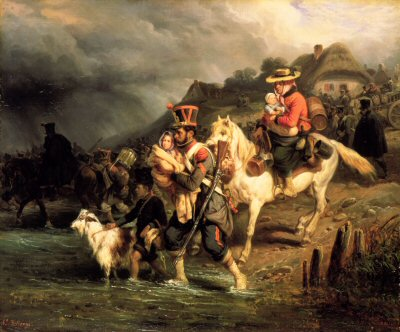 Crossing the Ford by H Bellange.