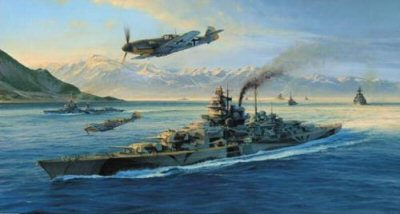 DHM2304. Knight&#39;s Move by Robert Taylor. <p> The awesome battleship Tirpitz under the command of Admiral Schniewind, in company with battleships Scheer and Hipper, setting sail during Operation Rosselsprung, destined for the open sea and the North Atlantic convoy traffic. Messerschmitt Me109s of JG5, based at Petsamo, provide overhead cover while flotilla escort vessels make up the fearsome armada. The magnificent Norwegian mountains provide a spectacular backdrop this comprehensively realistic and stirring World War Two image. <b><p>Signed by Major Erich Rudorffer (deceased), <br>Oberleutnant Ernst Scheufele (deceased), <br>Fahnrich Arnold Schroeder (deceased) <br>and <br>Leutnant Zur See Willibald Volsing. <p>  Limited edition of 500 prints,.  <p>Paper size 36 inches x 23 inches (91cm x 58cm)