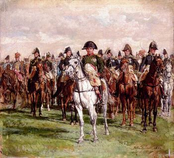 DHM232B.  Napoleon and his Staff by Jean Louis Ernest Meissonier. <p>Painted in 1868, Napoleon wears the uniform of the Chasseurs and is followed by his generals and an Egyptian Marmaluke (extreme left) Added, it was said, at the express wish of Lord Hereford who purchased the painting. It is now in the Wallace Collection.<b><p>Open edition print. <p> Image size 12 inches x 10 inches (31cm x 25cm)