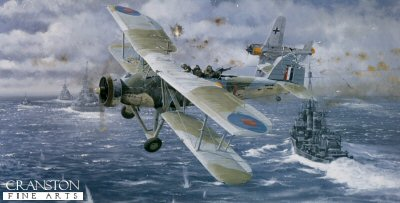 DHM2329. Operation Cerberus - The Channel Dash by Philip West. <p> The Channel Dash (officially known as Operation Cerberus) was one of three operations during the Second World War for which the Swordfish was to become the most famous. Heavily outgunned in the Straits of Dover on this day in February 1942 by the German warships Scharnhorst, Gneisenau and Prinz Eugen, with their accompanying flotilla of destroyers and motor torpedo boats, and with top cover provided by deadly fighter aircraft of the Luftwaffe, all six Fleet Air Arm Swordfish were shot down. Only five of the eighteen aircrew survived. Here we see the Swordfish flown by Sub. Lt. Kingsmill and Sub. Lt. Samples with PO Bunce in the rear, fighting for their lives with his machine gun. <b><p> Signed by <a href=signatures.php?Signature=402> CPO Donald Bunce CFG</a>. <p> Signed limited edition of 100 prints.  <p>Paper size 26.5 inches x 16.5 inches (67cm x 42cm)