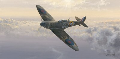 DHM2332. Evening Glory by Philip West. <p> Without doubt the most famous British fighter aircraft. It always inspired devotion from pilots and mechanics alike - to this very day. Flight Lt. Geoff Wellum in his 92 Sqn. Spitfire, during an all-too rare quiet moment, one evening during the summer of 1940 - the height of the Battle of Britain. The aircraft that inspired devotion from pilots and mechanics alike, and such statements as - she really was the perfect flying machine; she hadnt got a vice at all - was also admired by those on the ground. In propaganda posters and illustrations, the Spitfire represented Britains defiance and commitment to ultimate victory. <b><p>  Signed by Flt. Lt. Geoffrey Wellum DFC. <p>Signed limited edition of 100 prints.  <p> Paper size 26.5 inches x 16.5 inches (67cm x 42cm)