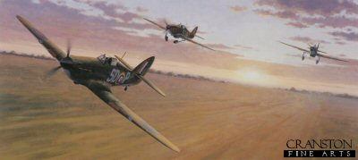 DHM2417.  Dawn Scramble by Keith Woodcock. <p>  May 1940 and Hawker Hurricanes of No 501 squadron with the leading aircraft being flown by Sgt. Ginger Lacey, take off from their base in France to engage advancing enemy. <b><p> Signed by Squadron Leader John Gibson (deceased).<p>Signed limited edition of 350 prints. <p> Image size 24 inches x 12 inches (61cm x 31cm)