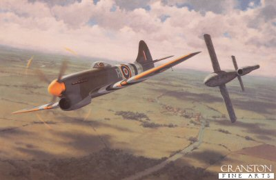 DHM2419.  Overturning the Odds by Keith Woodcock. <p>With all his ammunition spent on other interceptions, Wing Commander Beamont in his Hawker Tempest MKV tips a German flying VI bomb to its destruction with his wingtip during the summer of 1944. <b><p>Signed by Wing Commander Roland Bee Beamont CBE DSO DFC DL (deceased). <p> Signed limited edition of 500 prints. <p> Image size 22 inches x 14.5 inches (56cm x 37cm)