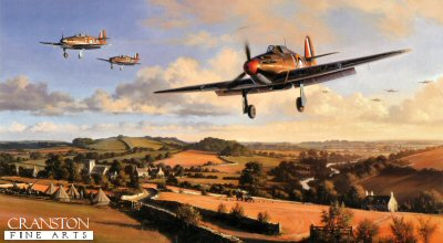 DHM2439.  Hurricane Heroes by Nicolas Trudgian. <p> Hurricanes of 87 Squadron return to their West Country base after repelling attacks by Luftwaffe bombers on nearby aircraft factories, August 1940. Flight Lieutenant Ian Gleeds Hurricane, in which he scored 20 victories, leads the Squadron pilots back to base to refuel, re-arm, and get airborne without delay. <br><br><b>Published 2000.<br><br>Signed by three famous Hurricane pilots who fought in the Battle of Britain.  These are three fantastic rare  signatures to have on one art print  and sadly all three have since passed away.</b><p><b>Last 3 prints available.</b><b><p> Signed by Wing Commander Roland Bee Beamont (deceased), <br>Squadron Leader Laurence Thorogood DFC AE (deceased) <br>and <br>Group Captain Tom Dalton Morgan (deceased), in addition to the artist.  <p>  Signed limited edition of 500 prints. <p> Paper size 27 inches x 19 inches (69cm x 48cm)