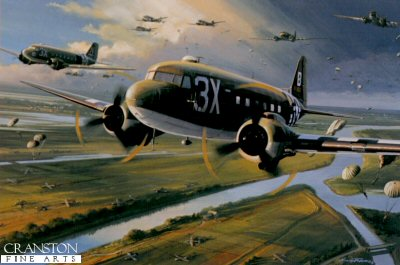 DHM2440. Invasion Force by Nicolas Trudgian. <p> Almost every major invasion that took place in Europe in World War II began with para drops, and in almost every case the C-47 was the aircraft that delivered these elite fighting troops. Few C-47 pilots had more combat experience than Sid Harwell, seen flying his Dakota in this typical action scene, dropping airborne troops into occupied Europe soon after D-Day. No matter what resistance he encountered, the good C-47 pilot put his aircraft right over the Dropping Zone, every time. <b><p> Signed by Colonel Sid Harwell, in addition to the artist. <p>  Signed limited edition of 800 prints.  <p>Paper size 16 inches x 14 inches (41cm x 36cm)
