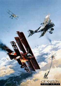 DHM2444. Knights of the Sky by Nicolas Trudgian. <p> The dramatic scene depicts an aerial dog-fight between Sopwith Camels and SE5A fighters of the Royal Flying Corps, and the bright red planes of Baron von Richthofens JG1 fighter wing. High over Northern France, the highly manoeuvrable fighters wheel and turn in the cauldron of close aerial combat, the artist bringing alive that evocative era when aerial combat first began. <p><b>Last 20 prints available of this sold out edition. </b><b><p> Signed by Flight Lieutenant Philip Bristow (deceased), in addition to the artist. <p>  Limited edition of 600 prints. <p>Paper size 17 inches x 22 inches (43cm x 56cm)