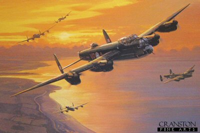 DHM2446. Mynarskis Lanc by Nicolas Trudgian.  <p> Lancaster V-RA, with its young Canadian crew, flew just a handful of operations. On the night of June 12, 1944, it was set afire by a JU88, forcing the crew to bale out. Seeing the rear gunner trapped Pilot Officer Andrew Mynarski vainly braved the inferno to help, losing his parachute to the flames. He was forced to jump without it. Miraculously the burning Lancaster pancaked, and the rear gunner survived. Andrew Mynarski was awarded the Victoria Cross posthumously. Mynarskis Lancaster is depicted setting out on that fateful night. Four of the crew members: Brophy, navigator Robert Bodie, radio operator James Kelly and pilot de Breyne were hidden by the French and, except for Brophy, returned to England shortly after the crash. Vigars and the wounded bomb aimer Friday were captured by the Germans and interned until they could be liberated by American troops. Pat Brophy joined French Resistance fighters and, after waging war on the ground behind enemy lines, made it back to London in September, 1944 where he learned of Mynarskis death. It was not until 1945 when Pat Brophy was reunited with Art de Breyne and the rest of the crew, that the details of his final moments on the aircraft were revealed. He related the story of the valiant efforts made by Mynarski to save him.<b><p> Signed by Warrant Officer James Kelly.  <p>  Signed limited edition of 800 prints.  <p>Paper size 16 inches x 14 inches (41cm x 36cm)