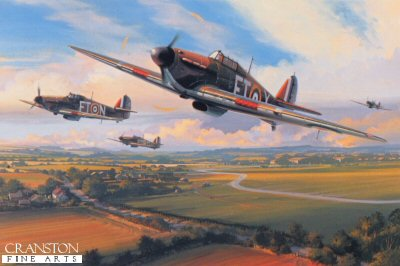 DHM2451. Squadron Scramble by Nicolas Trudgian. <p> Hurricanes of 43 Squadron scramble from an airfield in southern England during the height of the Battle of Britain, 1940. The R.A.F.s first 300mph fighter, the Hurricane proved itself a formidable aerial gun platform, its pilots accounting for four-fifth of all the air victories achieved by the R.A.F. during the Battle of Britain. <b><p> Signed by <a href=signatures.php?Signature=570>Group Captain Frank Carey (deceased)</a>, in addition to the artist. <p>  Signed limited edition of 800 prints. <p> Paper size 16 inches x 14 inches (41cm x 36cm)