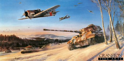 DHM2466. Ardennes Offensive by Nicolas Trudgian. <p> As 1944 drew to a close, Hitler made his final gamble of the war, mounting a massive strike force aimed at splitting the Allies forces advancing upon Germany.  His armour, supported from the air, would rip through the Ardennes to Antwerp, capture the Allied fuel supplies, and cut off all the opposing forces to the north.  Hitlers commanders were dubious of the outcome but nevertheless obeyed orders, and the operation was launched on 16th December.  Allied intelligence had discounted any German counter-offensive and the initial wave, comprising 8 Panzer divisions, took the Allied forces completely by surprise.  A parachute drop of English-speaking German soldiers in American uniforms behind the assault zone added to the confusion.  Advancing some 30 miles, and almost in sight of the River Meuse, by 26th December the SS Panzers had ground to a halt with empty fuel tanks, and were at the mercy of Allied counter-attacks.  By 16th January the German penetration was repulsed and Hitlers beloved Panzer units retreated in tatters.  The Fuhrers last gamble had failed.  Fw190s of JG1 provide close support to the 9th SS Panzer Division, as they spearhead Germanys final major offensive of World War II. Seen advancing on the 82nd Airborne Division, the King Tiger tanks, with the aid of Luftwaffe ground-attack fighters, drive the Americans back through the snowy fields of the Ardennes on Christmas Day, 1944. It was the last, short-lived and ultimately unsuccessful advance made by the German forces during World War II. <br><br><b>Published 2001.</b><p><b>Less than 20 copies available of this sold out edition.</b><b><p> Signed by Oberstleutnant Helmut Bennemann (deceased),<br>Oberstleutnant Hans Lutz (deceased),<br>Leutnant Siegfried Muller (deceased)<br>and<br>Oberst Eberhard Stephan (deceased).  <p> Signed limited edition of 500 prints.  <p>Paper size 36 inches x 25 inches (91cm x 64cm)