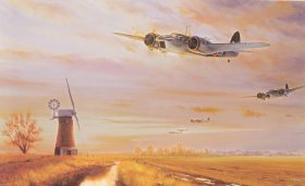DHM2480.  Blenheims Over Norfolk by Stephen Brown. <p>Bristol Blenheim IVs of 105 squadron returning at low level over Norfolk, after one of many anti-shipping sorties carried out over the North Sea in 1941.  At the outbreak of the Second World War the Bristol Blenheim was Bomber Commands fastest and most effective aircraft and formed the mainstay of its offensive operations.  Pressed into numerous different roles the Blenheim had many successes, including pioneering the first airborne interception radar for night fighting.  Even so, compared with the powerful machines of the Luftwaffe, it was highly vulnerable and only achieved what it did as a result of the extraordinary bravery and determination of its aircrews. <b><p> Signed limited edition of 350 prints. <p> Image size 33 inches x 23 inches (84cm x 58cm)