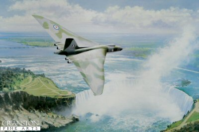 DHM2501.  Lone Ranger by John Young. <p>Sorely missed on the air display circuit, this Vulcan is pictured flying high over Niagra Falls. Used as a heavy bomber and particularly in the Falklands War of 1982, just the sound of the engines and the vibrations of the ground announced its arrival. Rumour had it that this magnificent aircraft might make a return at some time to the air display scene but this seems to be increasingly unlikely as time passes. <b><p> Signed limited edition of 495 prints.<p> Image size 16 inches x 24 inches (41cm x 61cm)