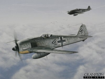 DHM2509. Ramraiders by Robert Tomlin. <p> FW 190 A-8/R-8 Sturmbock no 681382 of Hauptmann Wilhelm Moritz stalks a formation of B-17 Flying Fortresses.  Moritz led 4JG3, the Luftaffes first dedicated Sturmgruppe for seven months from April to November 44 before being relieved from exhaustion.  He ended the war with over 44 victories.. <b><p> Open edition print. <p> Image size 10.5 inches x 15.5 inches (27cm x 40cm)