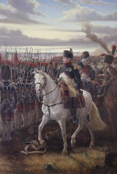 DHM256. Napoleon at Friedland by Mark Churms. <p> The year is 1807, the French Empire is at the pinnacle of its power. Although not yet 38 years of age the Emperor Napoleon Bonaparte is marching towards the heights of his military career. It is the anniversary of his great victory against the Austrians at Marengo seven years before. Since then the soldiers of The Grand Armee have faithfully followed The Little Corporal from victory to victory across Europe.  Now, in eastern Prussia, the Russians alone are holding out against the might of France. Bennigsens army is strung out on a four mile front along the banks of the river Alle, near the town of Friedland. With their backs to the unfordable river the brave Russian soldiers are drawn up in a poor position to give battle.  It is already midday when Napoleon arrives on the field. Much of the French force is still some miles away but the commanders keen eye immediately perceives an opportunity for victory. He decides to attack. The vigourous assault on the Russian lines commences at about 5.30 pm. Bennigsen, anticipating an engagement on the following day, is completely surprised by this ferocious attack so late in the afternoon. The fighting begins as his divisions are preparing to withdraw across the river Alle, to a stronger position. Napoleons master stroke throws the enemy into confusion. By 8.30 pm the French are masters of the field, the Russians have lost nearly a third of their army and 80 cannons. The town of Friedland is ablaze and the Tsars army in full retreat.  In simple attire and characteristically astride a nimble arab grey, Napoleon Bonaparte rides forward with his reserves of the Guard to survey the final victory.  Within a few days the defeated Tsar Alexander will embrace the French Emperor on a raft anchored in the middle of the Niemen at Tilsit. At their monumental meeting they will talk of peace, co-operation against the British, the division of Prussian Territories and France with Russia will form their uneasy alliance that will quickly collapse into open hostility and present Napoleon with his greatest challenge: The invasion of Russia itself. <b><p> Signed limited edition of 1000 prints.  <p>Image size 14 inches x 24 inches (36cm x 61cm)