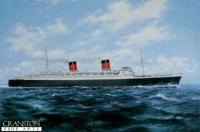 RMS Queen Elizabeth (1938) mid Atlantic by John Young.