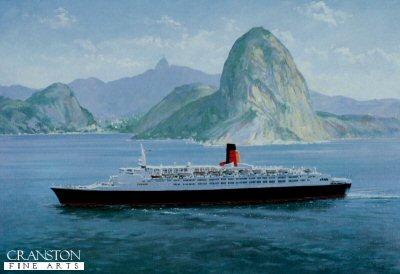 Queen Elizabeth 2 (1969) off Rio De Janeiro by John Young.