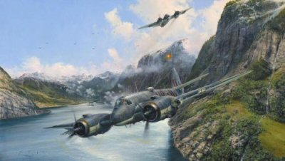 DHM2581.  Strike and Strike Again by Robert Taylor.  <p>  By the spring of 1945, Germanys once all-conquering submarine fleet, driven by allied forces from its bases in estern France, had fled to the relative safety of the Norwegian fjords - territory still remaining under German occupation since 1940.  In one of Hitlers last stands, more than 100 U-Boats, merchant freighters, flakships, and other military vessels were hathered in the narrow fjords, laying up by day and sailing undercover of darkness.  They were a menace that had to be dealt with.  Tasked with the difficult job of eliminating this force were the Beaufighters and Mosquitos of RAF Coastal Commands Strike Wings based in Scotland. - Our job was to go after this shipping and sink it - recalled Wing Commader Colin Milson, C.O. of No. 455s Beaufighters. - The fjords were often just 200 - 300 yards across with cliffs rising vertically up 2000 feet, the deep water allowing the German shipping to get in beneath these high overhanging cliffs.  This made for difficult and dangerous flying, exacerbated by the heavy flak and machine gun fire that always welcomed us. <b><p>Signed by Flying Officer Harold Corbin CGM, <br>Warrant Officer Les Doughty DFM <br>and <br>Flight Lieutenant Herbert Bert Graham.<p> RAF Aircrew Edition: Signed Limited Edition of 450 prints.<p> Image size 28 inches x 16 inches (72cm x 41cm)
