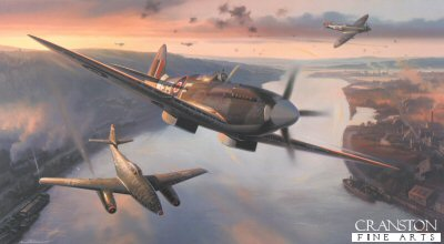 DHM2585. Victory Over the Rhine by Nicolas Trudgian. <p>Of the many famous combat aircraft to serve their respective countries in the Second World War, two perhaps more than any others, created huge impact and consternation upon seasoned opposing pilots when they first appeared on the battlefront - the Supermarine Spitfire and the Messerschmitt Me262.  Both in their day represented enormous advances in aircraft design and power, and both have continued to capture the imagination of aviation enthusiasts ever since.  As the war progressed the Spitfire continually upgraded its performance and by the time the Luftwaffes new Me262 turbo-jet arrived on the scene the sleek new Mk XIV, powered by the awesome Griffon engine, was among the fastest piston-engine fighters of the war.  The stage was set for a clash between the most powerful piston-engine fighter and the worlds first turbojet, and it was not long before the pilots of these two most advanced combat aircraft met in the hostile skies over western Europe. Ill-advisedly employed by Hitler as the wonder-bomber, the Me262 was initially issued to Bomber Units, one of which being KG51. Tasked with undertaking lightning fast raids upon advancing Allied ground forces, the shark-like jets employed their spectacular speed advantage to surprise, strike and escape. Not to be outdone, the RAF responded with their supremely fast Spitfire XIVs which had already proven themselves highly effective against Germanys V1 flying bombs. In his painting, Nick Trudgian recreates a typical moment: Spitfire Mk XIVs of 41 Squadron have intercepted and damaged a Me262 of KG51 and, with smoke and debris pouring from its damaged Jumo 004 Turbojet, the stricken Luftwaffe jet will be lucky to make it home. A dramatic painting and a fine tribute to the RAFs contribution to the Victory in Europe. <p><b>Last 35 available of this sold out edition.<b><p> Signatories: Sqn Ldr Hugh Parry; Wg Cdr J Elkington; Sqn Ldr Norman Scrivener (deceased); Flt Lt James Kyle DFM; Flt Lt Bertie Boulter DFC. <p> Anniverssary Edition : Signed  limited edition of 350 prints. <p> Print paper size 35.5 inches x 27 inches (90cm x 69cm)