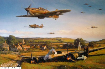 DHM2586. Hurricane Country by Nicolas Trudgian. <p> Released on the 65th Anniversary of the Battle of Britain a new limited edition to commemorate Churchills famous few. Stalwart of the Battle of Britain, the Hawker Hurricane equipped the majority of the RAF squadrons that defended Britain during that epic and decisive air battle in the summer of 1940. At the forefront of the air fighting over the southern counties of England, the young Hurricane pilots of 501 Squadron covered themselves in glory. Nicolas Trudgians painting sets the scene: a victim of yesterdays aerial conflicts, a crashlanded German Ju88 of KG30 lies on the edge of a Sussex field; the attention of two members of the local Home Guard is drawn to the Hurricanes of 501 Squadron as the fighters race back at low-level to Gravesend for fuel and ammunition. Within minutes they will scramble aloft again to rejoin the fray. <br><br><b>Published 2005.</b><p><b>Only 20 copies available of this sold out edition.</b><b><p> Signed by Sqn Ldr Ken Lee (deceased); Wng Cmdr Ken Mackenzie (deceased). <p> Aces Edition :    Signed  limited edition of 100 prints. <p> Print paper size 31 inches x 22.5 inches (79cm x 60cm)