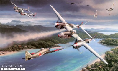DHM2589. Pacific Glory by Nicolas Trudgian. <p> One of the most successful of the P-38 equipped units was the 475th Fighter Group, Satans Angels, and it is the P-38s of this famous unit that Nicolas Trudgian has portrayed in his tribute to the American Air Forces that made Victory in the Pacific possible. It is March 1945 and the P-38s of the 475th FG are involved in a huge dogfight with Japanese Zeros over the coast of Indo-China. Flying Pee Wee V is Lt Ken Hart of the 431st Fighter Squadron, who has fatally damaged a Zero in a blistering head on encounter. The second P-38 - Vickie - belongs to Captain John Rabbit Pietz, who would end the War an Ace with six victories. <p><b>Published in 2005 with an original price of &pound;120.  Signed by three highly decorated P-38 pilots who flew in combat with the 475th Fighter Group in the Pacific theatre during World War.  We were lucky to get the last remaining prints when Cranston Fine Arts purchased over the last stocks of Nicolas Trudgian back catalogue.</b><b><p> Signatories: Col Perry J Dahl; Cpt Joseph Forster; Cpt Thomas Oxford. <p> Anniversary Edition :    Signed  limited edition of 350 prints. <p> Print paper size 35.5 inches x 27 inches (90cm x 69cm)