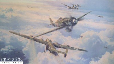 DHM2590. Savage Skies by Robert Taylor. <p> The weather on the morning of 31 December, 1944 was already unpleasant. In the Ardennes, hard-pressed German troops were battling Allied ground forces advancing through several inches of snow. Above, darkening skies heralded the arrival of more snow. At 10.45am, in deteriorating weather, a battle formation of 30 Fw190D fighters climbed out of Varrelbusch and headed south over the snowcovered landscape. Under the command of 12./JG54 Staffelkapitan, Oblt. Hans Dortenmann, and initially tasked to provide air cover to their beleaguered comrades below, the group was re-assigned to intercept enemy aircraft in the region of Limburg almost immediately the pilots were airborne. Flying south they ran directly into the oncoming weather, and with visibility dangerously reduced, Dortenmann elected to climb through the solid cloud into clear air. As the Fw190s broke cloud above the area of Koblenz they sighted a formation of nine 2nd Air Division B-24 Liberators and formed up for an attack. Some 6000 feet above, top-cover P-51 Mustangs had watched the Fw190s climbing through the banks of clouds, and turned 180 degrees to position behind the Luftwaffe fighters. Diving in from their height advantage, the Mustang pilots entered the fray and within seconds the sky was filled with swirling dogfights. <b><p> Signatories: <a href=signatures.php?Signature=235>Maj Hans Ekkehard Bob</a>; <a href=signatures.php?Signature=641>Lt Norbert Hannig</a>; <a href=signatures.php?Signature=237>Maj Eric Rudorffer (deceased)</a>. <p> Fighter Pilots Edition :    Signed  limited edition of 400 prints. <p> Print paper size 35 inches x 23.5 inches (89cm x 60cm)
