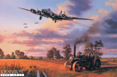 DHM2592. Heaven Can Wait by Nicolas Trudgian. <p> B-17 Fortresses of the Bloody Hundredth- the Eighth Air Forces 100th Bomb Group - return to Thorpe Abbotts following a raid on enemy oil refineries, September 11, 1944. Nicolas Trudgians moving tribute to the Bloody Hundredth shows the imaginatively named B-17, Heaven Can Wait, on final approach to Thorpe Abbotts after the intense battle on September 11, 1944. Skilfully piloted by Harry Hempy, the seriously damaged B-17G has struggled 500 miles home on two engines to make it back to England. They lost their tail gunner that fateful day. Below the descending bomber stream, an agricultural traction engine peacefully ploughs the wheat stubble in preparation for next year&#39;s vital crop, the farm workers oblivious to the unimaginable traumas so recently experienced by the crews of the returning B-17 Fortresses. <br><br>Signed by four pilots and crew who flew with the 100th Bomb Group in Europe during World War II.  <br>Published in 1999 - Issue price was &pound;120.<p><b>Last 20 available of this sold out edition.<b><p> Signatories: Lt Col Henry Hank Cervantes; Cpt Harry M Hempy; Stf Sgt Joseph Joe Keenan; Tech Sgt James Mack. <p> Signed  limited edition of 500 prints.  <p>Print paper size 30.5 inches x 24 inches (77cm x 61cm)