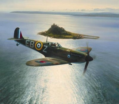 Spitfires Over St Michaels Mount by Robert Taylor.