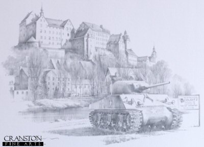 Colditz - a forbidding medieval castle near Leiptzig, Germany - remains one of the most potent symbols of the Second World War. Reputed to be the Nazis most escape proof prison, this grim castle is the most notorious PoW camp in history with the distinction of being the only German prison that had more guards than prisoners. The castle was specifically used to impound incorrigible, Allied officers who had repeatedly escaped from other camps but putting so many experienced serial escapers in one place proved to be a rather questionable idea. Despite more conventional escape routes gradually being sealed off by the Germans, members of The Colditz Escape Academy continued to jump, tunnel and sneak out of this inescapable prison in surprising numbers. Early in the war Hermann Goering made a public declaration that Colditz was escape proof but he was to be proven wrong time and time again, and over 300 attempts were made during the course of the war, with more than 130 prisoners escaping and 31 successfully reaching home. When captured the result was three weeks in the solitary confinement block, however this didnt stop prisoners inventing even more elaborate means of escaping, even catapulting themselves out of high windows and of course the famous design and building of a sophisticated glider. This new edition, reproduced from a pencil drawing by Nicolas Trudgian, depicts the imposing castle shortly after being liberated by American troops in April 1945. In the foreground below a Sherman Tank of the 9th Armored Division stands on watch, close to the sign that was erected by the US 69th Infantry Division.  <br><br><b>TWO PRINTS ONLY IN THIS SPECIAL NEWSLETTER PROMOTION.</b> <br>