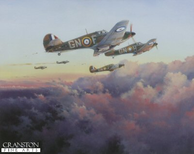 DHM2607. At the Setting of the Sun by Simon Atack. <p> A scene played out daily by Fighter Command squadrons throughout the defining air battles fought in the summer of 1940. Mk I Hurricanes of 249 Squadron are seen returning to North Weald after heavy action over London during the culmination of the Battle of Britain in September of that year. It is evening, and the squadron has been operational since first light. Most of the pilots have flown four missions on this day, and they will be in the air again tomorrow at dawn. And so it will go till the battle is won. In this quite beautiful painting, Simon Atack shows Tom Neils Hurricane in the foreground. He has suffered battle damage but, as so often with the trusty Hurricane, his steed will carry him safely home to fight again. <b><p> Signatories: Sqn Ldr Douglas G Clift (deceased), and Wng Com Tom F Neil DFC AFC. <p> Signed limited edition of 500 prints, with 2 signatures .  <p>Print paper size 20.5 inches x 19 inches (52cm x 48cm)
