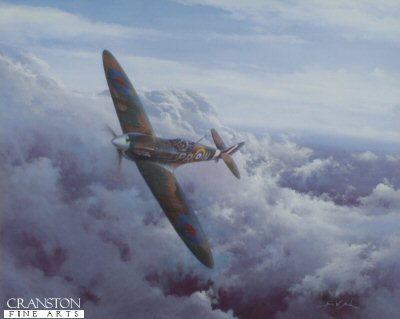 DHM2608. Into the Blue by Simon Atack. <p> A classic view of a Mk I Spitfire belonging to 609 Squadron, flown by Battle of Britain ace John Bisdee, high over South East England in that fateful summer of 1940. After the first fifteen months of the war this famous fighter squadron, initially made up of week-end flyers, became the first RAF squadron to claim 100 victories. Made up of pilots from so many nations, 609 Squadron was described as the most international brotherhood in arms since the Crusades. This evocative image, endorsed by Battle of Britain Spitfire pilots, pays tribute to all those who flew and fought this supreme little fighter in the hostile skies of war-torn Europe, so long ago. <b><p> Signatories: Sqn Ldr Iain Hutchinson (deceased), and Flt Lt Richard L Jones (deceased).  <p> Signed limited edition of 500 prints, with 2 signatures. <p> Print paper size 20.5 inches x 19 inches (52cm x 48cm)