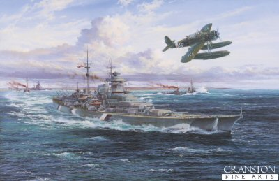 DHM2612. Battleship Bismarck by Simon Atack. <p> With her raked bo proudly slicing through the morning swell of Norwegian waters, the mighty 41,000 ton battleship Bismarck leads her consort, the heavy cruiser Prinz Eugen, with destroyers Z10, Z16 and Z23 among her escorts, into the approaches to Korsfjord near Bergen, at 0800hrs on 21st May 1941.  Aboard, Bismarcks captain Ernst Lindemann was plotting a voyage that was to result in one of the greatest epics in the annals of naval warfare.  As they steam towards Grimstadtfjord, an Arado Ar196A-2 floatplane gives a fly-by salute to the flotilla, this aircraft serving with I./Bordfliegerstaffel 195 which, together with 5./196 was responsible for providing aircraft for German naval vessels.  Operated by Luftwaffe crews, and affectionately known as Eyes of the Fleet, the Arado 196 was specially designed for shipboard operation - with an airframe sturdy enought to withstand the rigours of catapult launching it was a highly effective armed Recce aircraft.  Bismarck carried no fewer than four Arado 196 floatplanes, one always at readiness on the catapult, with three hangared aft of the funnel.  As she sailed, a reconnaissance Spitfire had spotted Bismarcks movements and the British Home Fleet were alerted.  The old battlecruiser Hood and new battleship Prince of Wales were despatched north-west from Scapa Flow to join the cruisers Norfolk and Suffolk in the Denmark Strait for a possible interception.  And the rest is history: as Bismarck entered the Denmark Strait the two forces met.  Hood, pride of the Royal Navy, received a direct hit in the ammunition magazin by a shell from Bismarck and sank so quickly that only three of her crew survived.  Stunned by such severe loss, Churchill ordered the Bismarck to be sunk at all cost.  Hunted down by the Home Fleet, with her rudder damaged and unable to steer, Bismarck was reduced to a mass of twisted steel by British naval gunfire, finally rolling over and sinking at 10.45 in the morning of the 27th of May.  Thus ended one of the most compelling sea chases in naval history. The magnificent German battleship Bismarck at the outset of her final voyage, just five days before her fateful encounter with the British Home Fleet in the north Atlantic, May 1941. <b><p> Signatories: Maschinenobergefreiter Otto Peters (deceased), <br>Unteroffizier Heinrich Kuhnt (deceased) <br>and <br>Matrosengefreiter Willi Treinis (deceased). <p> Signed limited edition of 500 prints, with 3 signatures. <p> Print paper size 31 inches x 23.5 inches (79cm x 60cm)