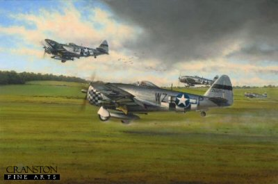 DHM2613. Days of Thunder by Richard Taylor. <p> Duxford became home to the 78th Fighter Group when they arrived in England with their P-47B Thunderbolts in 1943. The objective of the American fighter units was to gain air superiority over the Luftwaffe in support of their daylight bombing campaign. By 1944 they achieved their objective. Richard Taylor commemorates the valiant contribution of the 78th Fighter Group with a fine new rendition showing P-47D Thunderbolts departing Duxford en route for the north coast of France, and a low-level strafing mission. It is the spring of 1944, and with the Normandy invasion just days away, the Thunderbolts are already painted with invasion markings. <b><p> Signatories: <a href=signatures.php?Signature=674>Colonel Robert J Shorty Rankin (deceased)</a>. <p> Signed limited edition of 250 prints, with 1 signature.  <p>Print paper size 30.5 inches x 22 inches (77cm x 56cm)