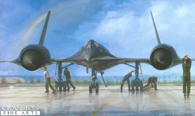 DHM2632. Outrun the Thunder by John D Shaw. <p> The amazing SR-71, number 972, at Kadena as it undergoes a last-minute engine run-up prior to a reconnaissance sortie over the Soviet naval base at Vladivostok. <b><p>Signed by a minimum of sixty SR-71 pilots and RSOs. <p> Signed limited edition of 500 prints. <p> Paper size 37 inches x 26 inches (94cm x 66cm)