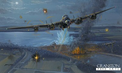 DHM2642. Night of Heroes - The Dambusters by Philip West. <p>17th May 1943. Lancasters from 617 Squadron deliver a surprise attack on the Ruhr dams with specially designed, unique bouncing bombs invented by Barnes Wallis. Wing Commander Guy Gibson is shown drawing defensive fire away from Flt Lt Maltbys aircraft as it passes over the Mohne, just as his mine explodes and breaches the dam. <b><p>Signed by Squadron Leader George L. Johnson DFM. <p> Signed limited edition of 125 prints. <p> Paper size 28 inches x 19 inches (71cm x 48cm)