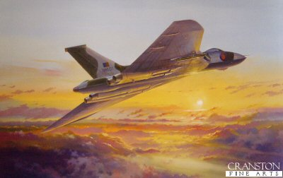 DHM2644. Return to Ascension by Simon Atack. <p> On the 30th April 1982, flying from Wideawake airfield on Ascension island, Flt. Lt. Martin Withers and his crew, flying RAF Vulcan (XM607) launched the first Black Buck bombing operation of the Falklands War.  There and back the non-stop flight covered 7,500 miles, lasting 15 hours 45 minutes - at the time, the longest combat flight in history. The Vulcan was refuelled by Victor tankers five times on the outward journey and once on the return journey. <b><p> Signed by Flt Lt Martin Withers DFC. <p> Signed limited edition of 150 prints. <p> Paper size 28 inches x 20 inches (71cm x 51cm)
