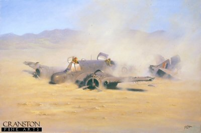 DHM0265D. Desert Prang by Geoff Lea. <b><p>Signed by Flight Lieutenant Ray Harington. <p>Pilot Signature edition of 200 signed prints. <p>Image size 16 inches x 10 inches (41cm x 25cm)