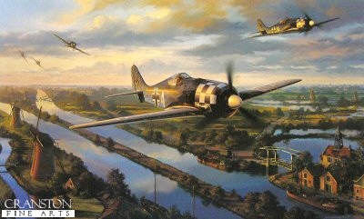 DHM2661B. Day of the Fighters by Nicolas Trudgian. <p> The pilots of I Gruppe JG-1 were up early on August 17th 1943.  It was high summer, and even as the first streaks of light appeared in the sky to the east, four pilots got airborne out of Deelan, Holland, and headed for the coast.  It was the first routine reconnaissance  of the morning.  By 0730 German listening services were picking up signals indicating large formations of enemy aircraft assembling to the west of Great Yarmouth, south east England.  By 0800 it was clear to the German interceptor fighter groups stationed in Holland that this was going to be no ordinary day.  Shortly after 0930 the first wave of a force of some 375 B-17s and B-24s, heavily escorted by fighters, started crossing the Dutch coast south of the Scheldt estuary, their destination Schweinfurt and Regensburg.  They were shadowed by the German fighters of 1, 2 and 3 Gruppe along thei entire route over Europe.  When the Allied fighter escort turned back at the limit of their range, the Luftwaffe fighters made their attack.  It was the start of a day of incessant aerial combat which raged all the wway across Holland, Belgium and Germany, and all the way back to the coast again as the Americans returned to England.  It was one of the longest air-to-air battles of the war and became known by the Luftwaffe pilots as the day of the fighters.  <p><b>Last 14 copies of this sold out edition, with the added signature of Gunther Kolb.. </b><b><p>Signed by Oberleutnant Adolf Glunz (deceased), <br>Hauptmann Alfred Grislawski (deceased),<br>Major Gerhard Schopfel (deceased)<br>and<br>Unteroffizier Gunther Kolb (deceased). <p> Limited edition of 75 publishers proofs. <p> Paper size 35 inches x 24.5 inches (88cm x 62cm)
