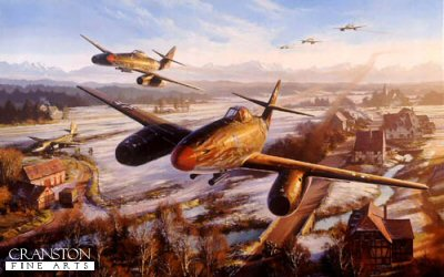DHM2662B. Return of the Hunters by Nicolas Trudgian. <p> Messerschmitt Me262s of JG7 race back to their base at Brandenburg after intercepting a USAAF bomber raid on Munich, and Luftwaffe air bases in the area. Below them a B-26 has crash-landed in the fields still covered with a sprinkling of late winter snow. In the distance the afternoon sun glistens on the Bavarian Alpine mountains. <p><b>Last 16 copies of this sold out edition. </b><b><p> Signed by General Adolf Galland (deceased), <br>Major Erich Rudorffer (deceased) <br>and <br>Leutnant Fritz Tegtmeier (deceased). <p> Limited edition of 100 publishers proofs. <p> Paper size 33 inches x 24 inches (83cm x 61cm)