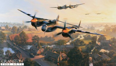 DHM2665B. Dawn Chorus by Nicolas Trudgian. <p> June 1944, dawn is breaking over a sleepy English village, and P-38 Lightnings shatter the silence as they climb out from a nearby air base, en route to the Normandy beach heads. <p><b>Last 3 copies available of this sold out edition. </b><b><p>Signed by <a href=signatures.php?Signature=553>Colonel Jack M Ilfrey</a>, <br><a href=signatures.php?Signature=1020>Arthur Jeffrey (deceased)</a>,<br><a href=signatures.php?Signature=289>Brigadier General Robin Olds (deceased)</a> <br>and <br><a href=signatures.php?Signature=153>Colonel Hub Zemke (deceased)</a>. <p> Limited edition of publishers proofs. <p> Paper size 36 inches x 24 inches (76cm x 61cm)