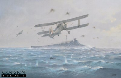 DHM267B.  Sink the Bismarck by Geoff Lea. <p>Shows the action on 26th May 1941 by Swordfish from HMS Ark Royal on the German battleship Bismarck. Fresh from her triumphant encounter with HMS Hood, Bismarck was struck by Swordfishs torpedo which jammed her rudder and was finished off by the home fleet on 27th May 1941. <b><p>Signed by John Moffat. <p>Limited edition of 80 prints. <p> Image size 25 inches x 15 inches (64cm x 38cm)
