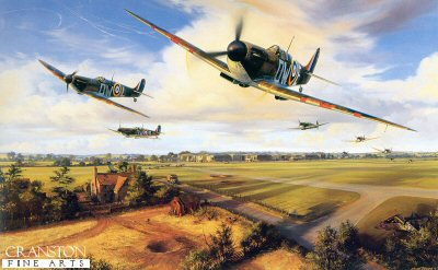 DHM2682B. Their Finest Hour by Nicolas Trudgian. <p> Situated on the south eastern tip of Kent, RAF Hawkinge was the most forward airfield in Fighter Command.  It was not surprising therefore that when Reichmarshal Goering began his fierce attacks on airfields - part of his softening up campaign in preparation for Hitlers Adler Tag (Eagle Day) - Hawkinge would be among the first in his sights.  The Luftwaffe were putting up massive raids - over 1700 aircraft crossed the coast on August 16th - and RAF bases in the south-east were taking a pounding.  Hawkinge, a satellite of Biggin Hill sector station, and vital to front line defences, lay right in the path of the raiding Luftwaffe hordes.  When on August 12th it was bombed for the first time, its effect was only to harden the resolve of its pilots and groundstaff.  MkI Spitfires of No.610 County of Chester Squadron are seen scrambling out of RAF Hawkinge in late August 1940.  refuelled and re-armed, with scarlet patches covering the gunports, all serviceable aircraft roar off the grass strip and head back to the fray.  With aerial battles raging all the way from 2000 to 20,000 feet, within minutes they will be back in the action.  Ground crews in the foreground work frantically to get more Spitfires airworthy.  In the background Hurricanes from No.32 Squadron are at readiness, and will be called into action as the primitive radar picks up the next incoming raid <p><b>Less than 4 available. <b><p> Signed by Squadron Leader Cyril Bam Bamberger (deceased), <br>Squadron Leader Ben Bennions DFC (deceased), <br>Wing Commander George Grumpy Unwin, DSO, DFM* (deceased), <br>Tony Pickering AFC, <br>Flight Lieutenant Richard L Jones (deceased), <br>Vivian Snell (deceased), <br>Squadron Leader Geoffrey Wellum DFC, <br>Squadron Leader Basil Stapleton DFC (deceased), <br>Group Captain Tom Dalton Morgan DSO, DFC*, OBE (deceased), <br>Wing Commander Ken W MacKenzie (deceased), <br>Wing Commander Wilfred M Sizer DFC* (deceased), <br>Wing Commander George W Swanwick (deceased), <br>Squadron Leader Jocelyn G P Millard (deceased) <br>and <br>Air Commodore Paul Webb CBE DFC AE (deceased). <p> Limited edition of 50 publisher proofs. <p> Paper size 31 inches x 23 inches (78cm x 58cm)