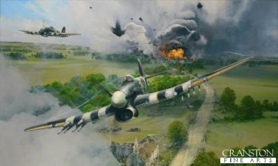 DHM2711. Closing the Gap by Robert Taylor. <p> As Typhoon Mk1b fighter-bombers of 247 Squadron exit the target area near Falaise at full throttle, the havoc wreaked in their wake bears witness to the devastation of their powerful rockets. Fuel and ammunition from the retreating German column explode with shattering detonations, the savagery of the attack demoralising the enemy into stunned oblivion. The Typhoons will hurtle back to base to re-arm and hastily re-fuel, ready for yet another withering strike on the encircled Wehrmacht columns. This stunning rendition from the the worlds premier aviation artist pays tribute to the brave young RAF fighter pilots of the twenty squadrons of rocket-firing Hawker Typhoons who flew those perilous ground attacks during the Battle of Normandy. <b><p> Signed by Squadron Leader Percival H. Beake DFC, <br>Warrant Officer Jack Hodges DFC <br>and <br>Warrant Officer John Abe Lincoln. <p> Signed limited edition of 350 prints. <p> Paper size 35 inches x 25 inches (89cm x 64cm) Image size 28.5 inches x 17 inches (72cm x 43cm)