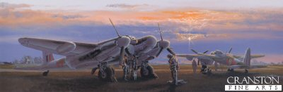 DHM2716. Time To Go by Philip West. <p> Late 1944 and as the sun sets, Mark XIX Mosquito night fighters from 85 and 157 Squadrons based at RAF Swannington crew up for their next operation over hostile territory. These Mosquitoes scored many victories in the defence of Bomber Command aircraft and their crews during their relentless and dangerous missions over Germany. <b><p> Signed by Flight Lieutenant Robert Bruce, <br>Flight Lieutenant John Jock Cairns, <br>Squadron Leader John Hall, DFC*, <br>W O Donald J Jimmy Lowrie, <br>Flight Lieutenant Geoffrey Perks DFC, <br>H. E. Tappin (deceased) <br>and <br>Flying Officer Jim York DFC. <p> Signed limited edition of 150 prints. <p> Paper size 28 inches x 12.5 inches (71cm x 32cm)