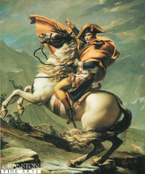 DHM275.  Bonaparte Crossing the Great Saint Bernards Pass, By Jacques Louis David. <p>Painted more as an important propaganda piece, than an historical painting, This painting shows Napoleon on a fine horse, in fact he crossed the Alps on a mule.<b><p>Open edition print. <p> Image size 18 inches x 24 inches (46cm x 61cm)