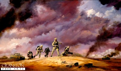 DHM281. The Storm and the Sabre by Simon Smith. <p> British infantry supported by Warrior armoured vehicles advance into Iraq, February 1991. <b><p> Signed limited edition of 1150 prints.  <p>Image size 23 inches x 15 inches (58cm x 38cm)