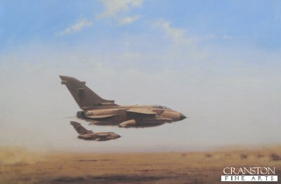 DHM284.  Pink Tornados by Geoff Lea. <p>A pair of RAF Tornado GRIs at low level during the Gulf War operation Desert Storm, in their distinctive desert pink camouflage colour scheme. <b><p> Signed limited edition of 1000 prints. <p> Image size 23 inches x 15 inches (58cm x 38cm)