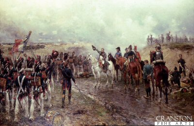 DHM294.  Napoleons Last Grand Attack by Ernest Crofts. <p>The fourth release of Ernest Crofts Waterloo series.  Napoleon is seen with his generals as his faithfull Guard regiments (held in reserve) pass him on their way to the last French attack on the British lines during the last stages of the Battle of Waterloo. Painted in 1895 and was last sold at Sothebys London.<b><p>Open edition print. <p> Image size 32 inches x 19 inches (81cm x 48cm)